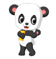 cute panda holding pencil and book vector image vector image