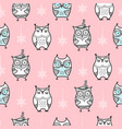 cute seamless pattern with hand drawn owls vector image vector image