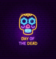 day dead skull neon label vector image vector image