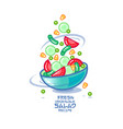 different vegetables and a bowl kawaii vector image vector image