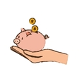 drawing hand holding piggy coins money safe vector image