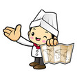 executive chef character is holding a world map vector image vector image