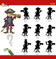 finding shadow game with pirate vector image vector image