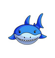 front face blue shark that shows white teeths vector image vector image