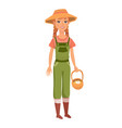 Ginger woman with braids as farm worker