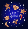 gingerbread cookies - merry christmas sign vector image vector image