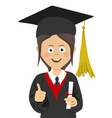 girl graduate student in graduation cap and mantle vector image