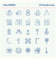 halloween 25 doodle icons hand drawn business vector image vector image