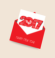 Happy new year 2017 greeting card with envelope vector image vector image