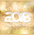 happy new year text on gold snowflake background vector image vector image