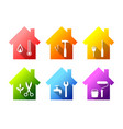 house set with work tools facility management vector image vector image