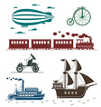 icons of vintage means of transportation vector image vector image
