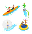 isometric people on water activity kayaking vector image vector image