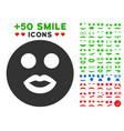 lady smile smiley icon with bonus smile set vector image