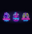 logos collection electronic cigarette in neon vector image
