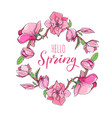 magnolia flower wreath with hello spring lettering vector image vector image