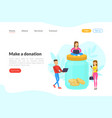 make a donation landing page template people vector image