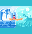 man swimming on boat from town to nature vector image vector image