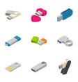 mobile memory icons set isometric style vector image vector image