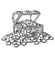 old chest with coins piles of coins around black vector image vector image