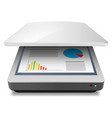 opened office a4 scanner on white vector image vector image