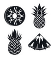 pineapple fruit icons set simple style vector image