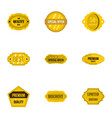 premium golden badges icons set flat style vector image vector image