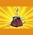 purse with gold coins vector image