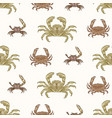 seamless pattern with various types crabs on vector image vector image