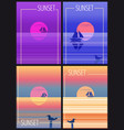 set cards minimalist sunset in the sea ocean vector image vector image