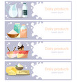 set dairy products horizontal banners in vector image