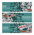 set of horizontal banners about sea transport vector image vector image