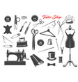 sewing tools and needle threads buttons pins vector image vector image