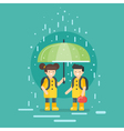 smiling kids going to school in the rain vector image