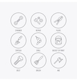 Spanner repair tool spatula and bolt icons vector image vector image