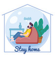 stay home awareness quarantine consent banner self vector image vector image