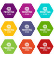 store 3d printing icons set 9 vector image vector image