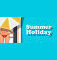 summer holiday banner with girl sunbathing vector image