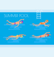 summer pool swimmers poster vector image vector image
