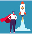 super hero business man standing in red cloak near vector image