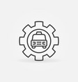 taxi car in cog wheel concept icon in thin vector image