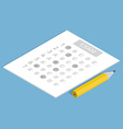 Test answer sheet concept isometric vector image
