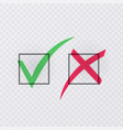 tick and cross signs green checkmark ok and red x vector image vector image
