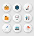 trade icons flat style set with world wallet vector image