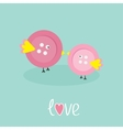 Two pink button birds Love cart Flat design style