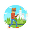 vr virtual reality glasses young man playing game vector image vector image