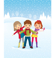 winter day children playing outdoors vector image vector image