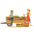 Woman With Wooden Cart With Vegetables And Client vector image vector image