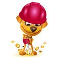 yellow dog miner mining bitcoin gold coin vector image vector image
