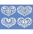 Lacy hearts laser cutting fretwork shapes vector image